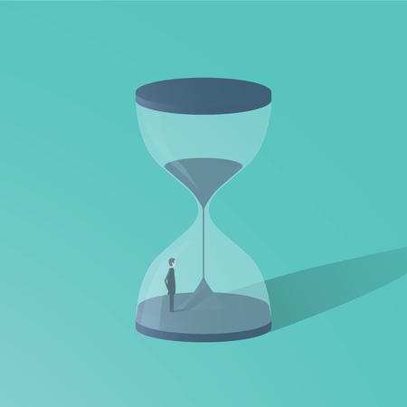 Business deadline vector concept with businessman standing in hourglass. Symbol of time pressure, countdown. Illustration
