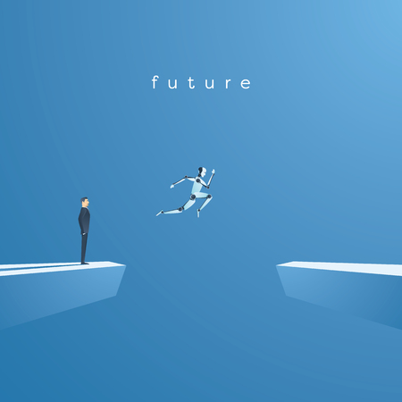 Artificial intelligence concept illustration with robot jumping, leaping into future. Vektorové ilustrace