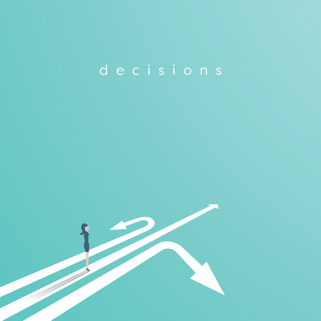 Business decision vector concept with businesswoman standing above three arrows. Business symbol of decision, opportunity, challenge, career.