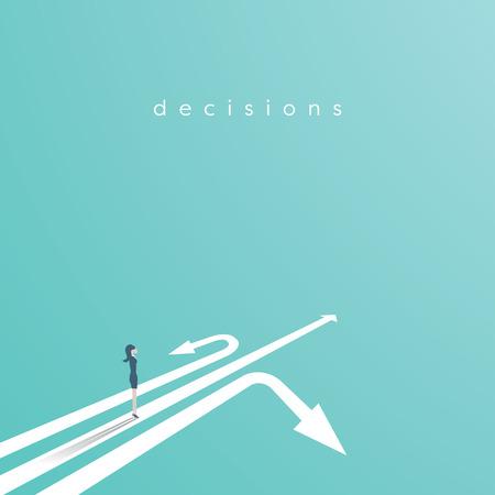 Concepto de vector de decisión empresarial con empresaria de pie por encima de tres flechas. Símbolo comercial de decisión, oportunidad, desafío, carrera.