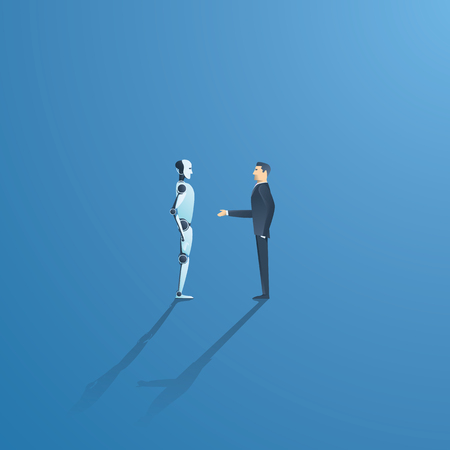Ai or artificial intelligence vector concept with ai robot handshake with human. Symbol of future cooperation, technology advance, innovation.