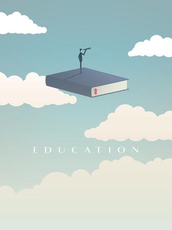 Concepto de vector de educación Empresario o estudiante de pie en el libro, volando en el cielo, mirando al futuro. Símbolo de carrera, trabajo, graduado, logro, sabiduría. Ilustración de vector