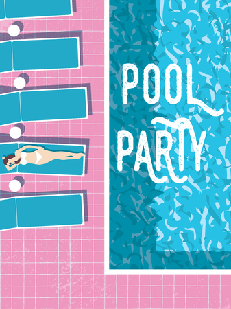 Summer pool party invitation poster, flyer vector template with vintage swimming pool, woman sunbathing and sunbeds.