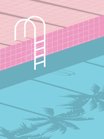 Manifesto dell'invito dello spazio in bianco della festa in piscina di estate, modello di vettore dell'aletta di filatoio con il fondo d'annata della piscina e scala di punti. Illustrazione vettoriale Eps10 Vettoriali