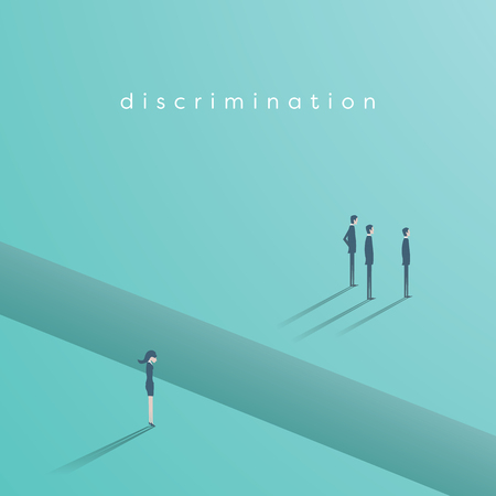Gender discrimination in business vector concept with businesswoman and businessmen separated by gap. Sex inequality symbol vector illustration. Illustration