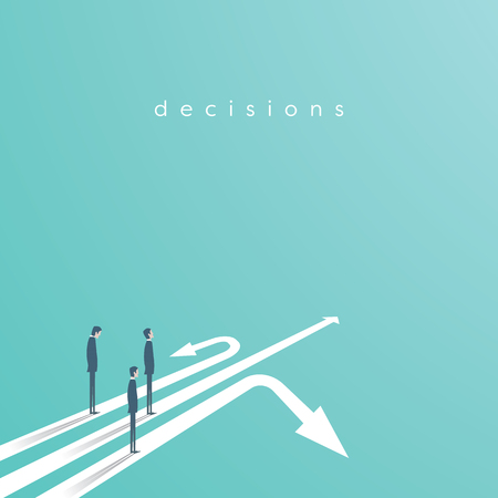 Business concept of decision and competition. Businessman standing on different arrows - symbol of decision, choice, career opportunities. Eps10 vector illustration. Standard-Bild