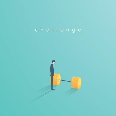 Business challenge vector concept with businessman standing next to weights. Symbol of motivation, ambition, inspiration, opportunity. Stock Photo