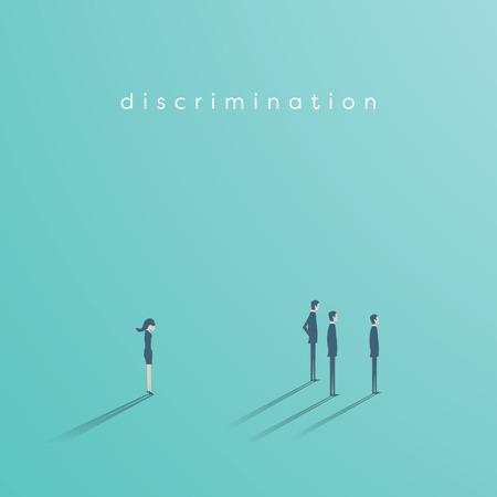 Gender discrimination in business vector concept between businesswoman and businessmen. Sex inequality symbol.