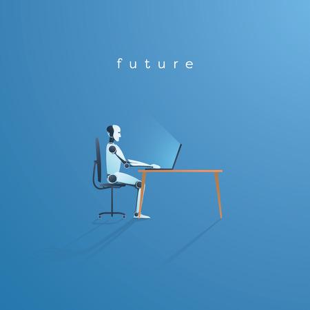 Robot d'intelligence artificielle travaillant sur l'illustration vectorielle d'ordinateur portable. Concept technologique de l'IA remplaçant les travailleurs humains. Illustration vectorielle Eps10.