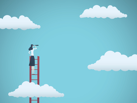 Business vision vector concept with business woman standing on top of ladder above clouds. Symbol of new opportunities, career ladder, visionary, success, promotion. Illustration