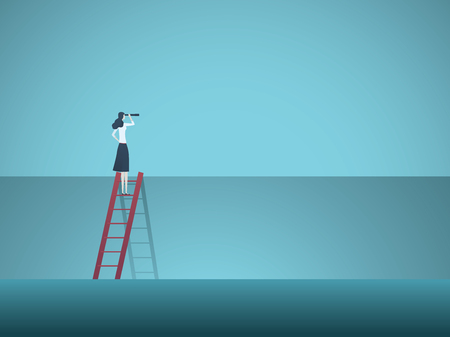 Business vision vector concept with business woman standing on top of ladder above wall. Symbol of overcoming obstacles, challenges, breaking barriers, new opportunities. Eps10 vector illustration.