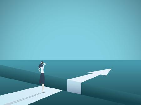 Concept de vecteur de défi et de solution entreprise avec femme d'affaires debout sur un grand écart. Vecteurs