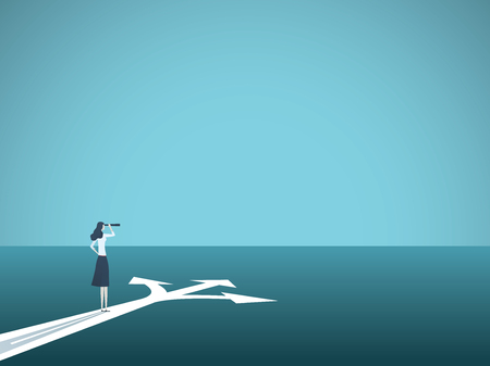 Business or career decision vector concept. Businesswoman standing at crossroads. Symbol of challenge, choice, change, new opportunity. Illustration