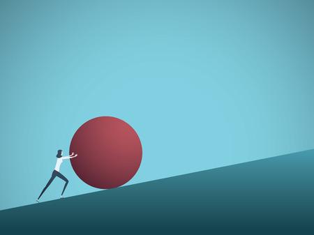 Concepto de vector de desafío empresarial con empresaria como sísifo empujando la roca cuesta arriba. Símbolo de dificultad, ambición, motivación, lucha.