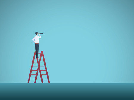 Business vision vector concept with business man standing on top of ladder. Symbol of visionary, challenges, career progress, growth, new opportunities.