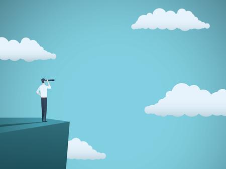 Visión empresarial o concepto de vector visionario con el empresario de pie en la cima del acantilado con telescopio. Símbolo de éxito, ambición, liderazgo. Ilustración de vector