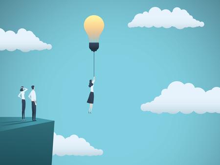 Idea creativa en concepto de vector de negocio con empresaria volando con bombilla. Símbolo de creatividad, inspiración, imaginación, innovación.