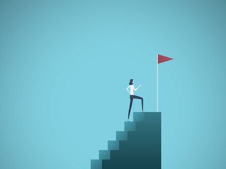Business ambition and success vector concept. Ambitious and successful business woman climbing to top of steps. Symbol of motivation, challenge, success. Stock Illustratie