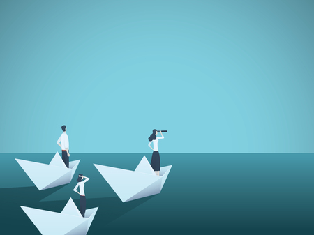 Business woman leader vector concept with businesswoman in paper boat leading team. Symbol of equality, woman power, leadership, vision. Vettoriali