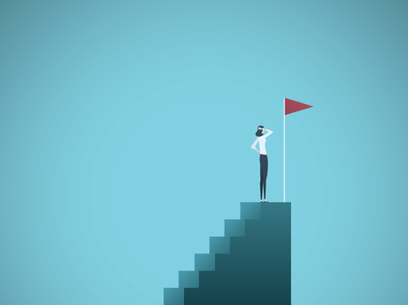 Business ambition and success vector concept. Ambitious and successful business woman standing on top of steps. Symbol of motivation, challenge, success.