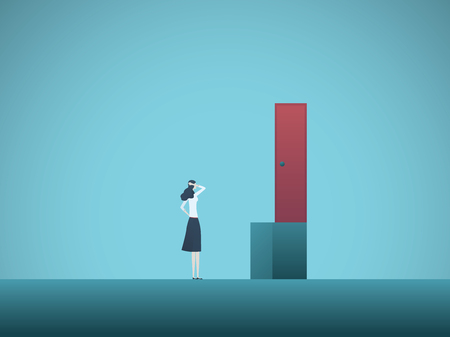 Zakelijke vrouw uitdaging vector concept. Zakenvrouw die oplossing vindt. Symbool van creativiteit, het oplossen van problemen op het werk. Eps10 vectorillustratie.