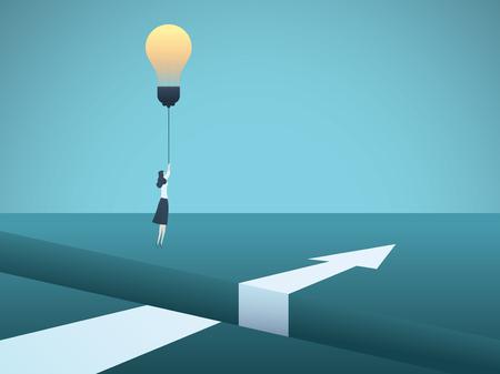 Concept de vecteur de créativité entreprise avec femme d'affaires survolant l'écart avec ampoule. Symbole d'innovation, d'invention, de solution, de rupture, d'ambition, de motivation. Illustration vectorielle Eps10. Vecteurs