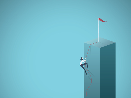 Business goal, objective, target vector concept with businesswoman climbing a cliff on a rope. Symbol of motivation, career growth, success, ambition. Eps10 vector illustration.