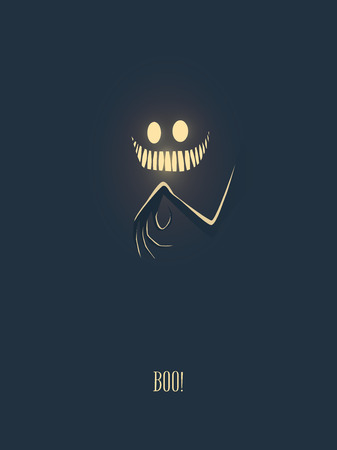 Happy halloween vector illustration card with monster glowing in the dark night, his hand with creepy fingers and mouth full of scary teeth. Party invitation card template. Eps10 vector illustration.