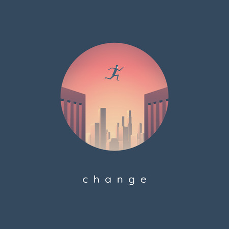 Career change business vector concept with businessman jumping from one skyscraper to another. Symbol of challenge, opportunity and success. Eps10 vector illustration.