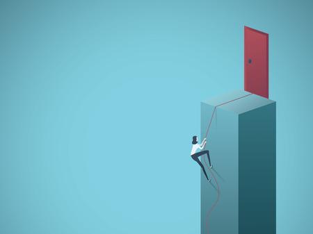 Concepto de vector de ambición y motivación empresarial. La empresaria subiendo a la puerta. Símbolo de éxito, determinación y metas. Ilustración de vector Eps10. Ilustración de vector