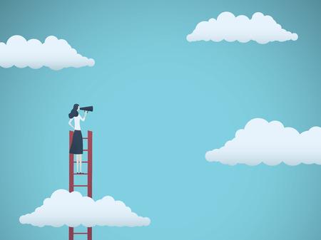 Vektorkonzept des öffentlichen Sprechers oder des Geschäftsführers. Geschäftsfrau, die durch Megaphon auf einer Leiter spricht. Symbol für Motivation, Herausforderung, Ehrgeiz. Eps10 Vektorillustration.