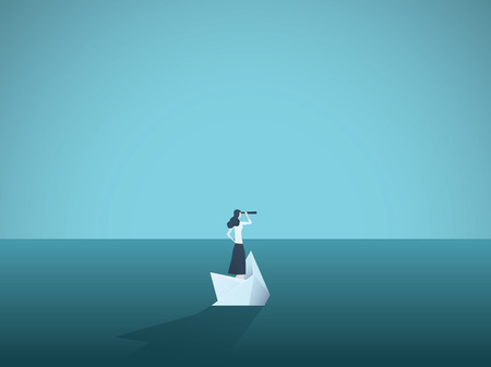 Businesswoman on a sinking ship, paper boat. Symbol of bankruptcy, failure but also new beginning, overcoming challenge. Eps10 vector illustration.