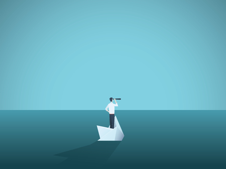 Businessman on a sinking ship, paper boat. Symbol of bankruptcy, failure but also new beginning, overcoming challenge. Eps10 vector illustration.