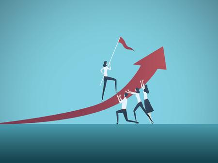 Objetivo empresarial, meta o concepto de vector de destino. Equipo de gente de negocios trabajando juntos. Símbolo de crecimiento, trabajo en equipo, desafío. Ilustración de vector Eps10.