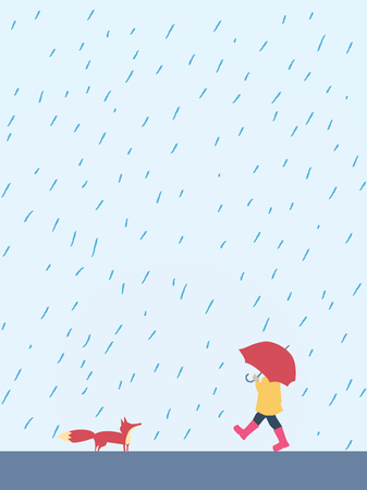 Small playful child walking with umbrella in the rain meeting fox. Cute, adorable, beautiful autumn cartoon character suitable for posters, cards. Eps10 vector illustration. Illustration