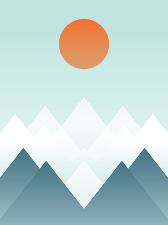 Abstrac winter mountain landscape vector illustration. Snowy hills with orange sun. Artistic poster or card. Eps10 vector illustration.