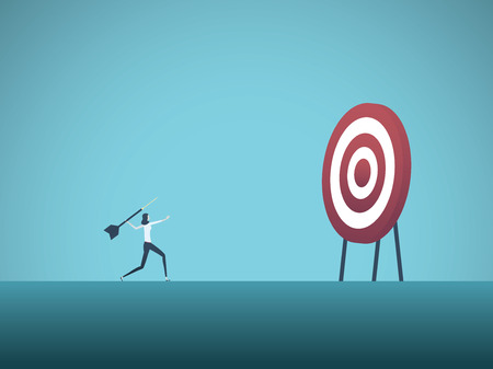 Business objective and strategy vector concept. Businesswoman throwing dart at target. Symbol of business goals, aims, mission, opportunity and challenge. Eps10 vector illustration. 免版税图像 - 110076555