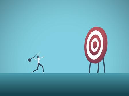 Obiettivo aziendale e concetto di vettore di strategia. Donna di affari che getta il dardo all'obiettivo. Simbolo di obiettivi aziendali, scopi, missione, opportunità e sfida. Illustrazione vettoriale Eps10. Vettoriali