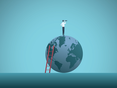 Business vision vector concept with businessman standing on top of the world looking through telescope. Symbol of future, challenge, opportunity, new objectives and leadership.