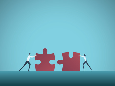 Business teamwork vector concept with businessman and businesswoman pushing jigsaw puzzles together. Symbol of cooperation, collaboration, technology, success. Eps10 vector illustration. 일러스트