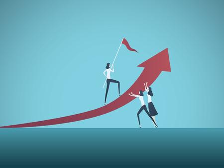 Concepto de vector de trabajo en equipo empresarial con mujeres empresarias que trabajan juntas para lograr los objetivos. Símbolo de cooperación, esfuerzo común Ilustración de vector