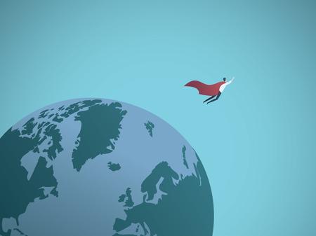 Businessman superhero flying around the world vector concept. Symbol of power, leadership, success. 向量圖像