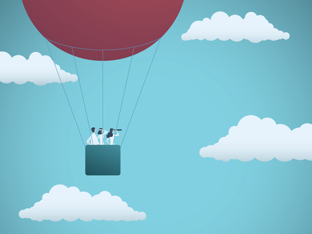 Business team flying in hot air balloon. Symbol of business vision, mission, strategy and teamwork.
