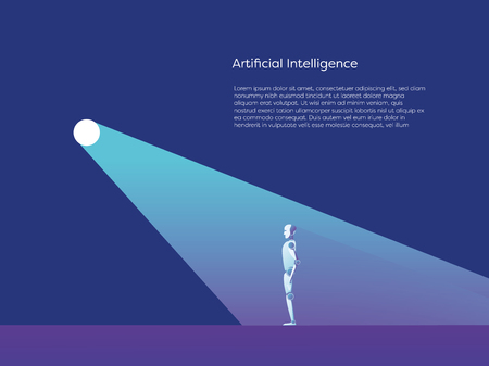 Artificial intelligence vector concept with ai robot standing in spotlight. Symbol of future advanced technology, progress and innovation. Vetores