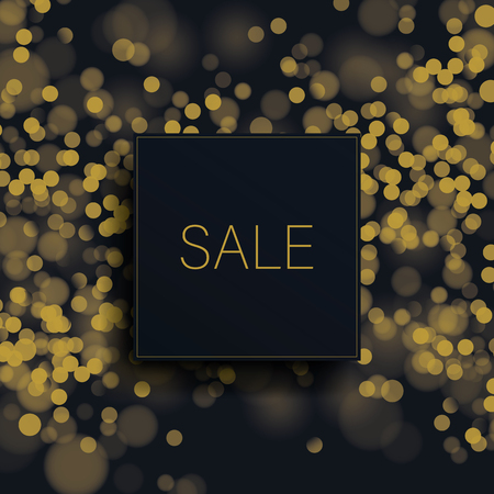 Big sale vector banner template with gold glitter blurred bokeh background. Special offers promotion, best deals and discounts advertising. Eps10 vector illustration. Stock Illustratie