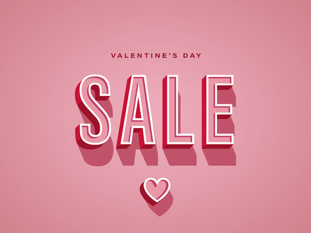 Valentine day sale promotional vector banner or poster with vintage retro typography. Eps10 vector illustration.