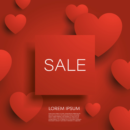 Valentine day sale banner or poster vector background with red 3d hearts and badge for your text. Special offers, best deals, discounts. Shopping promotion and advertising. Eps10 vector illustration
