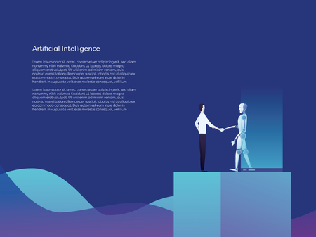 Artificial intelligence robot and businessman shaking hands vector concept. Symbol of new technology, future, innovation, inventions. Eps10 vector illustration.