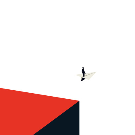 Business leadership vector concept with in minimalist art style. Businessman flying on a paper plane. Symbol of leader, future, ambition and business success. Eps10 vector illustration. Ilustração