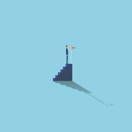 Business achievement and success vector concept with businessman standing on top of stairs. Symbol of completing plan, reaching goals and milestones. Eps10 vector illustration.